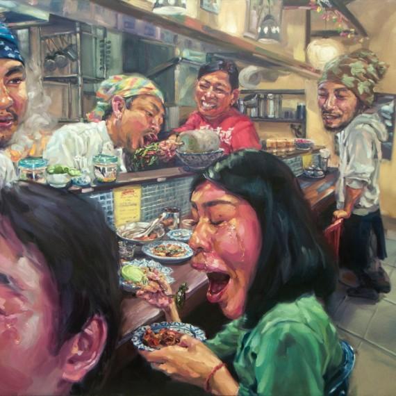 เผ็ดที่สุดในโลก, The most Spicy in the world', Oil on canvas, 200x300cm.