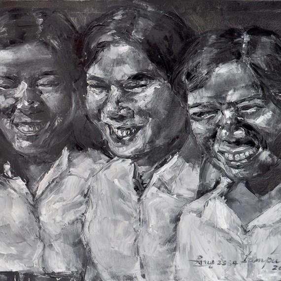 แม่และเพื่อนของแม่ (Mother and friends), Oil on Canvas, 60x80 cm.