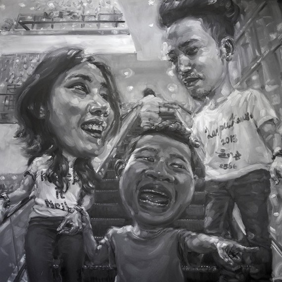 ไม่อยากรู้ว่าตัวเองเป็นใคร, (Face off), Oil on canvas, 200x200 cm.