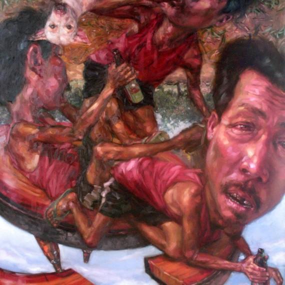 เมื่อเราหมุนรอบตัวเอง (Spring Around), Oil on Canvas, 180x200 cm.