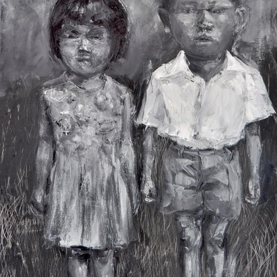สองพี่น้อง (Brother & Sister), Oil on Canvas, 60x80 cm.