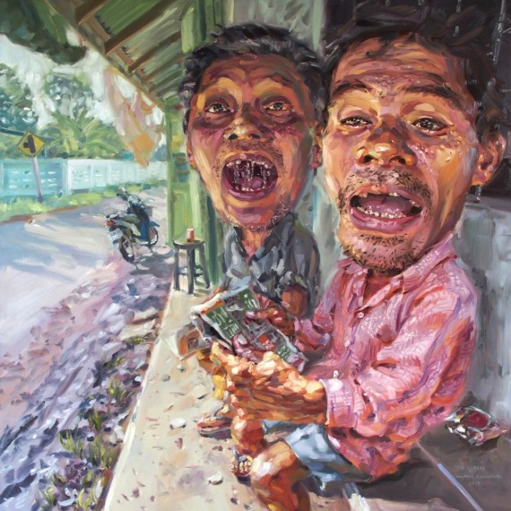 ถามทาง, (Asking Direction), Oil in canvas, 200x200cm