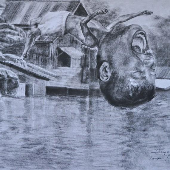 ลีลาเหลือกิน (Extreme), Crayon on paper, 79x109.5 cm.