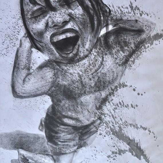 พริ้วไหวดุจสายนำ้ (Smooth as Silk), Crayon on paper, 79x109.5 cm.