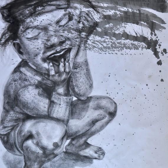 ยอง ยอง สาด (Splash!), Crayon on paper, 79x109.5 cm.