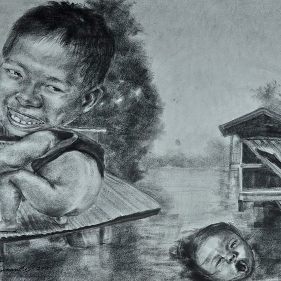 น้ำขึ้นต้องรีบอึ (The Tide's Up, Let's Shit), Crayon on paper, 79x109.5 cm.