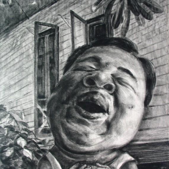 อิ่มอกอิ่มใจ (Contented), Crayon on paper, 110x80 cm.
