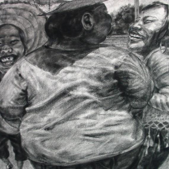 เอ้า! ซ้าย ขาว ซ้าย (Left,Right,left !), Crayon on paper, 110x80 cm.