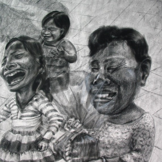 อุ้มบุญ (Blessing), Crayon on paper, 110x80 cm.
