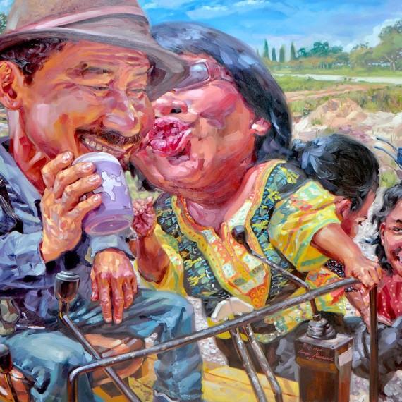 ครอบครัวเพื่อนรัก (Close friend's Family), Oil on Canvas, 170x190 cm.