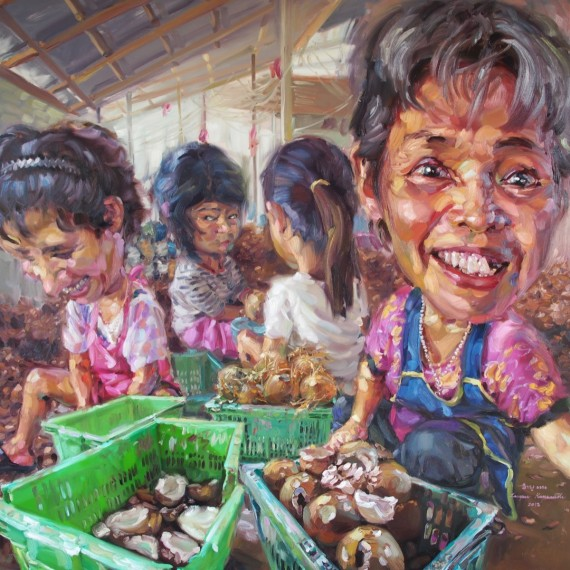 มาซื้อกะทิ, (Wanna buy coconut milk!), Oil in canvas, 200x200cm