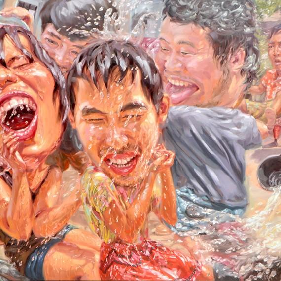 สาดต้องสาด (Splash-Splatter), Oil on Canvas, 200x300 cm.