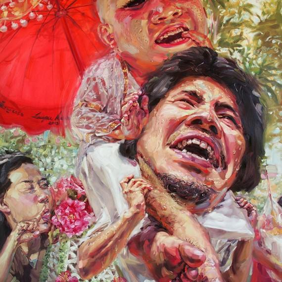 นาคมารอพี่ทุกวันเลยนะ, (Right Here Waiting), Oil on canvas, 200x200 cm.
