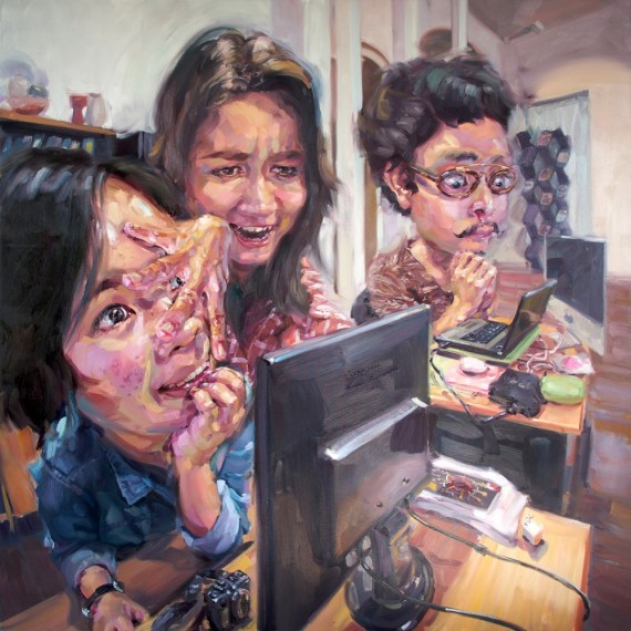 ขมักเขม้น, (Working hard), Oil in canvas, 200x200cm.