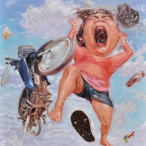 ทางกลับบ้าน (On the Way Home), Oil on Canvas, 250x250 cm.