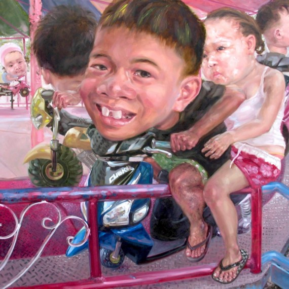 เด็กแว้น (Motorcycle boy), Oil on Canvas, 190x190 cm.