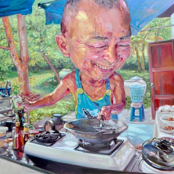 อาหารเช้าของบ้าน (Family's Breakfast), Oil on Canvas, 170x190 cm.