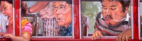 ประจำทาง (En Route), Oil on Canvas, 50x300 cm.