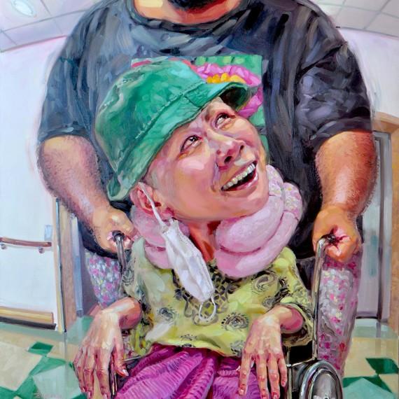 วันหมอนัด (An Appointment to Doctor), Oil on Canvas, 170x190 cm.