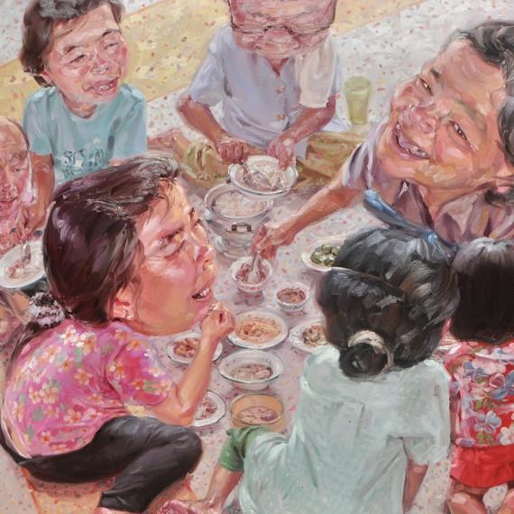 วันครอบครัว (Family's Day), Oil on Canvas, 180x200 cm.