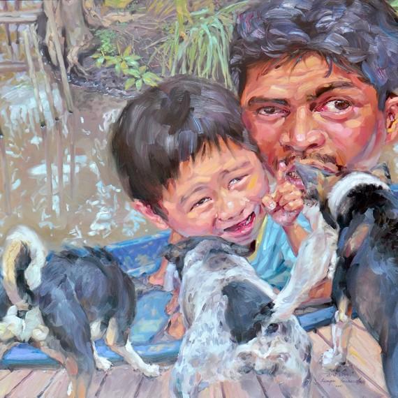 ไม่ต้องกลัวลูก! (No Fear,Son!), Oil on Canvas, 170x190 cm.