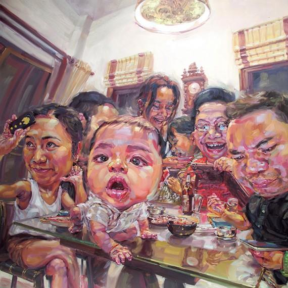 ช่วงเวลาแห่งความสุข... ช่วงเวลาเฟสบุ๊ก, (Time of Happiness, Time of Facebook), Oil on canvas, 250x250 cm.