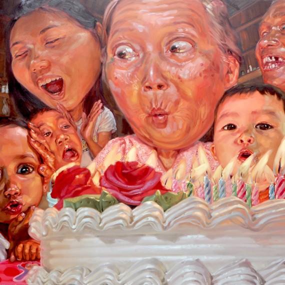 ยายจะเป่า (Let me blow it), Oil on Canvas, 200x250 cm.