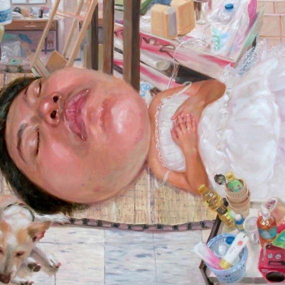 วิถีการนอน (The way of sleeping), Oil on Canvas, 180x230 cm.
