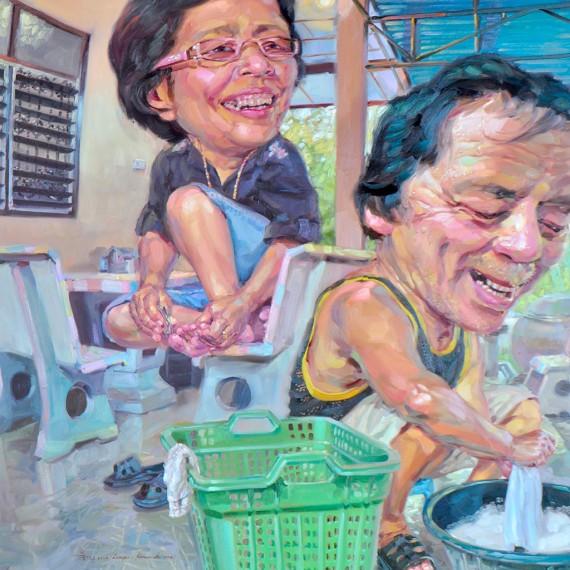 ซักไป อย่าอู้! (Wash them quickly!), Oil on Canvas, 170x190 cm.
