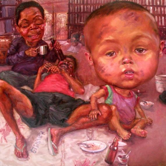 ผู้นำครอบครัว (The Family Leaders), Oil on Canvas, 200x200 cm.