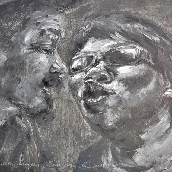 จูจุ๊บ (Smooching), Oil on Canvas, 60x80 cm.