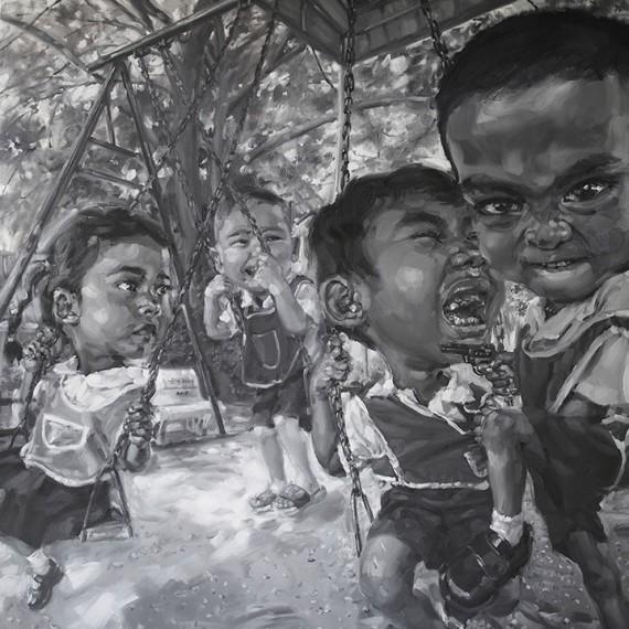 ขอหนูเล่นมั่งดิ, (Mind, if I join you?), Oil on canvas, 200x200 cm.