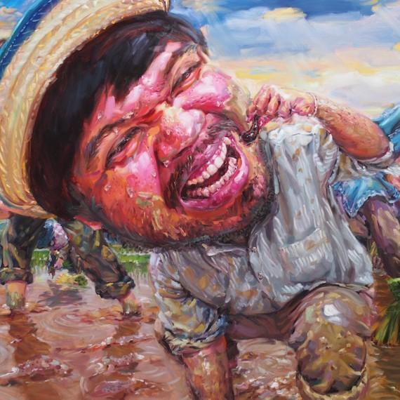 ชาวนากับปลิงน้อย, (My beloved farmer), oil on canvas, 200x300