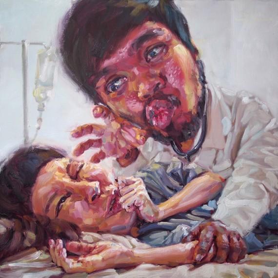 มีความต้องการทางแพทย์สูง, (My beloved doctor), oil on canvas, 100x100 cm.