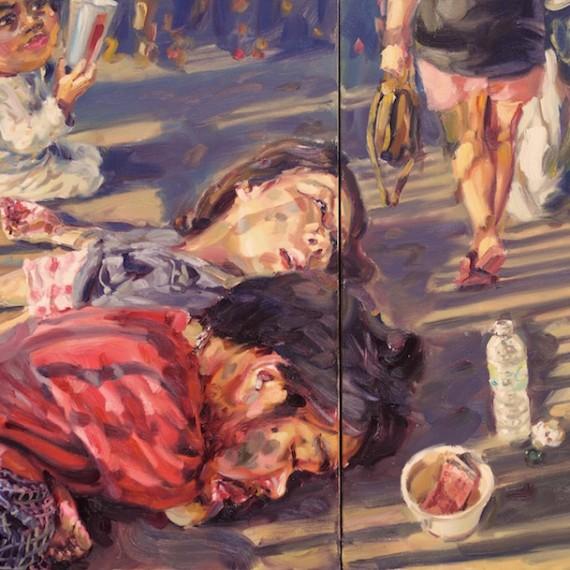 อยากหลับตาและนอนหลับชั่วนิรันดร์, (My beloved homeless), oil on canvas, 100x180 cm.