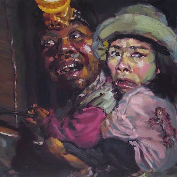 กรีดยางอยู่ใต้ไม่ปลอยภัย, (My beloved rubber-man) , oil on canvas, 50x80cm.