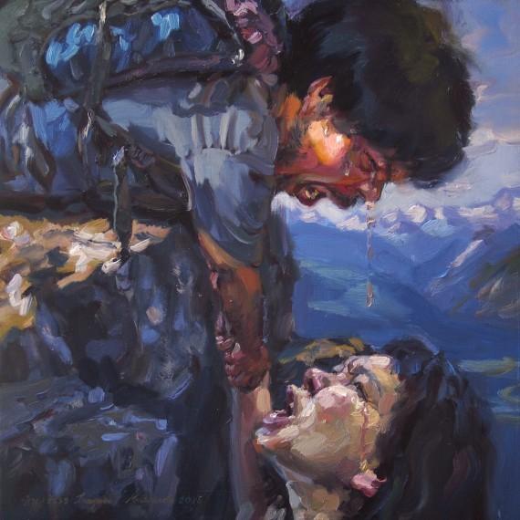 ขอมือเธอหน่อย ไว้คอยกระชับให้ชื่นใจ, (My beloved mountaineer), oil on canvas, 50x50 cm.
