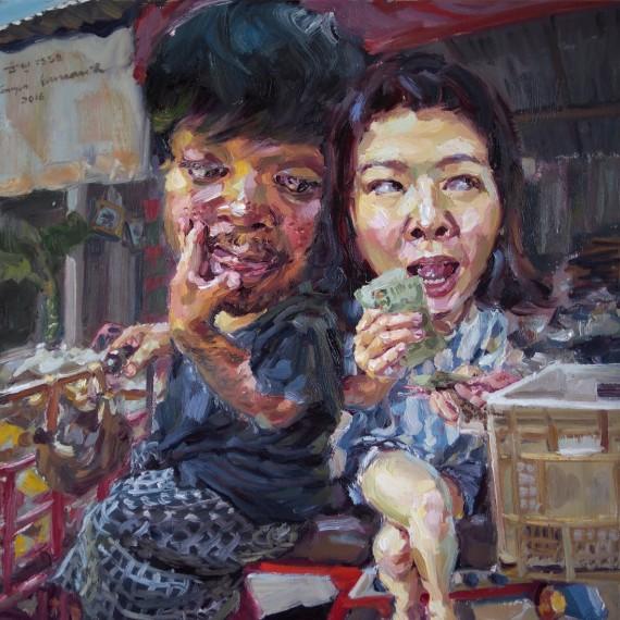 ขับซาเล้งแสนเศร้า หาของเก่าริมทาง, (My beloved pedlar), oil on canvas, 50x50 cm.