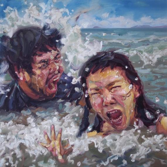 เธออาจเหน็บหนาวทุกคราวที่เจอคลื่นลม, (My beloved lifeguard), oil on canvas, 50x50 cm.