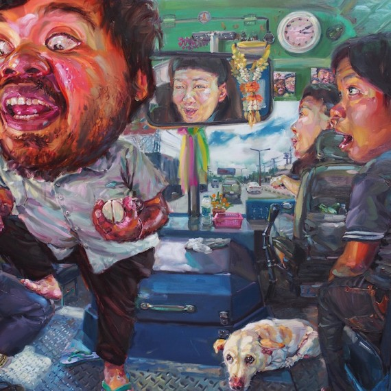 กระเป๋าสุดแซ่บ, (My beloved ticket collector), oil on canvas, 200x300 cm.