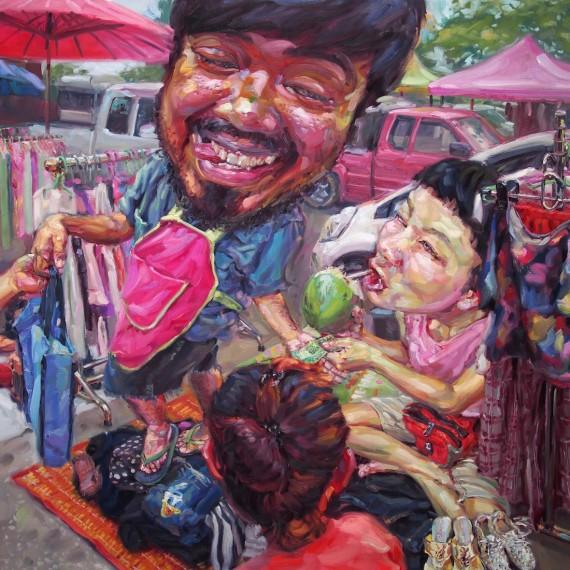 ตลาดนัดวัดคู้ฯ, (My beloved salesman), oil on canvas, 200x200 cm.