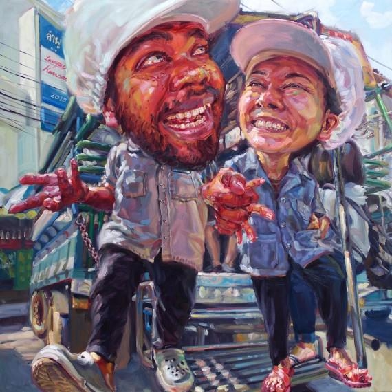 หนุ่มโรงงานปลากระป๋อง, (My beloved factory man), oil on canvas, 200x200 cm.