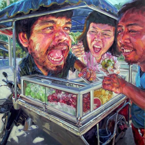 ผู้ชายขายผลไม้, (My beloved vendor), oil on canvas, 200x200 cm.