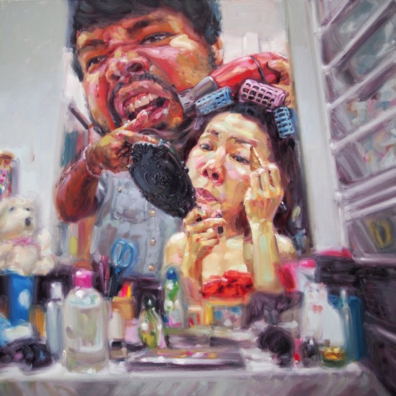 เป่าดีๆ! (My beloved hair stylist), oil on canvas, 150x150 cm.