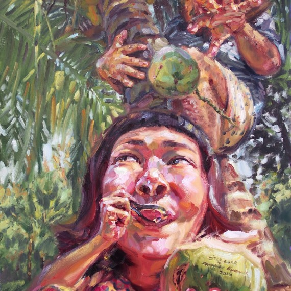 ลิงน้อยหอยสังข์, (My beloved monkey), oil on canvas, 100x180 cm.