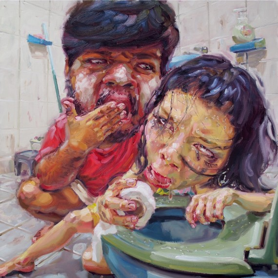 ฉันชอบเที่ยวมันผิดหรือไง (Party foul), oil on canvas, 120x120 cm.