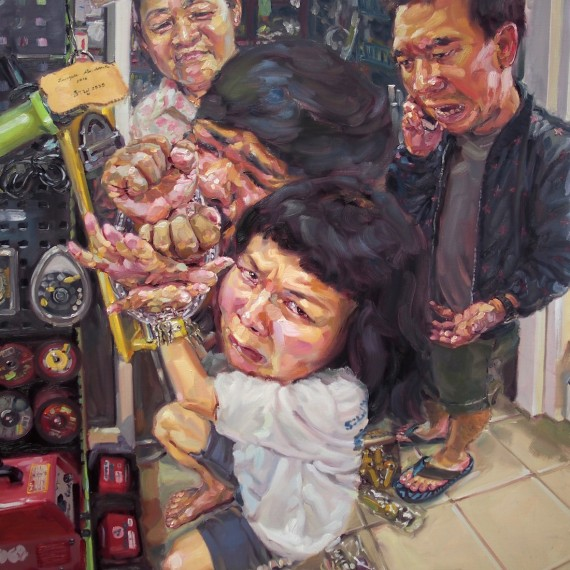 เชลยรัก (Free me please!), oil on canvas, 150x180 cm.