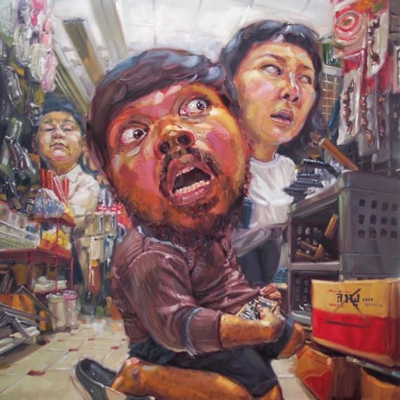 อย่าบอกให้ใครรู้ (Don't tell anyone), oil on canvas, 180x180 cm.