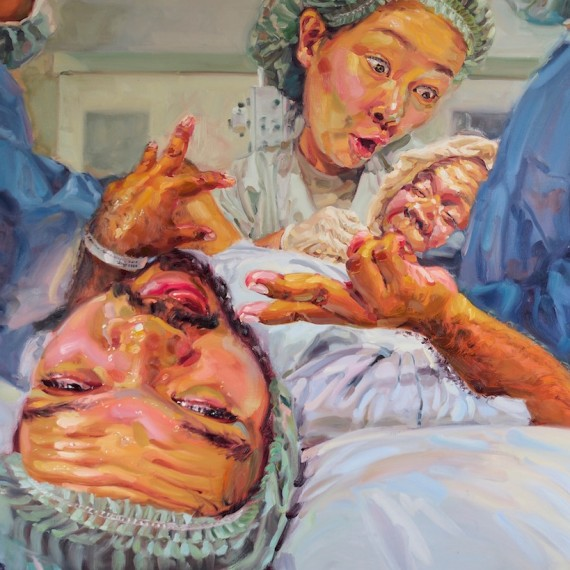 (Giving Birth), oil on canvas, 150x200 cm.