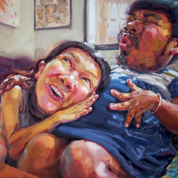 ได้ยินไหม หัวใจฉัน (Hearing from the womb), oil on canvas, 80x100 cm.